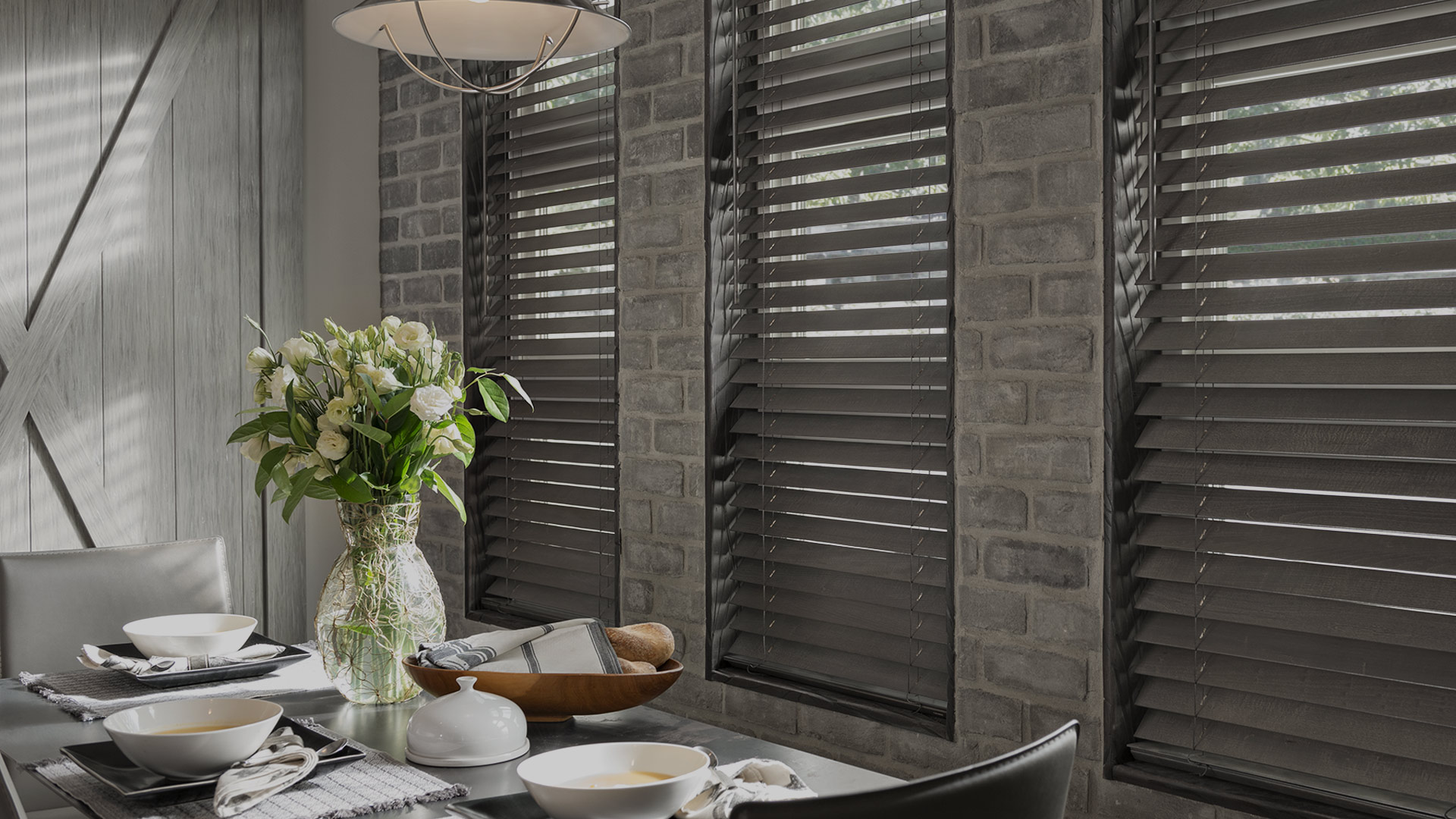Kitchen with Wood Blinds